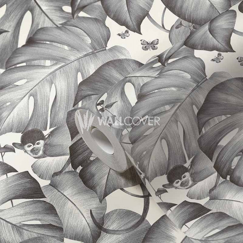 384831 Tapete Dschungel Affe Monstera Blätter Ranken Grau Weiß
