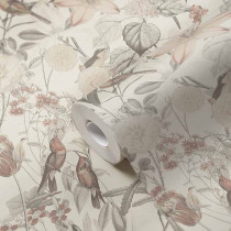 384812 Tapete Blumen Vogel Blüten Beige Rosa Grau