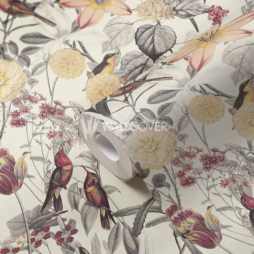 384811 Papier peint fleurs oiseaux rouge jaune gris