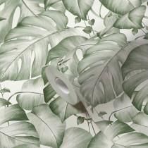 384821 Papier peint jungle monstera feuilles vrilles vert blanc