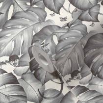 384831 Papier peint jungle singe monstera feuilles vrilles gris blanc
