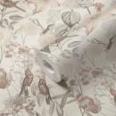 384812 Papier peint fleurs oiseaux beige rose gris