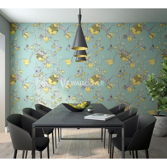 Boho ethnic Non-woven wallpaper blue and orange Home wall mural Wallcover
